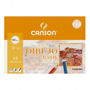 Papel dibujo Canson gama basik Minipack 10h. A3
