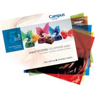 Bloc papel celofán Campus College trabajos manuales 5 colores