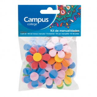 Set manualidades Campus College flores goma EVA colores