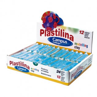 Plastilina Campus College 60gr azul claro Caja 24 barras