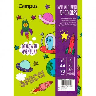 Bloc Dibujo Campus College A4 70gr 50 hojas 5 colores