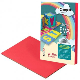 Goma Eva Campus College 2mm Rojo. 20x30 cm