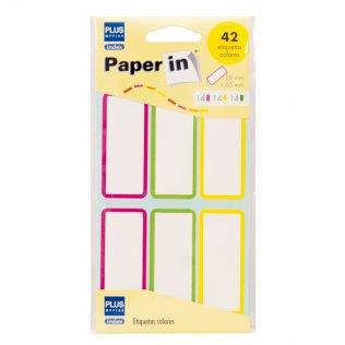 Etiquetas adhesivas de color para libros 28x65mm 42ud Plus Office