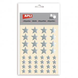 Gomets estrellas metalizadas Apli PLATA 120 unid