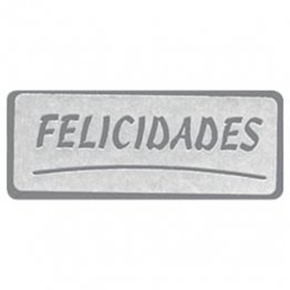 Etiquetas adhesivas FELICIDADES rectangular plata Rollo 500 u