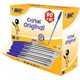 Boligrafo Bic Cristal Azul Pack Escolar 100 unidades