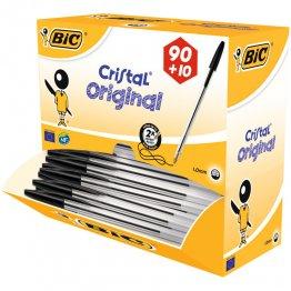 Boligrafo Bic Cristal Negro Pack Escolar 100 unidades