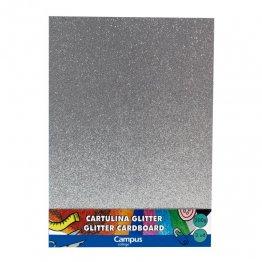 Cartulina Campus College 200 gr A4 Glitter Bolsa 3 unid Plata