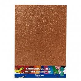 Cartulina Campus College 200 gr A4 Glitter Bolsa 3 unid Bronce