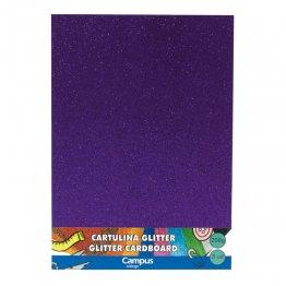 Cartulina Campus College 200 gr A4 Glitter Bolsa 3 unid Violeta
