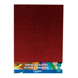 Cartulina Campus College 200 gr A4 Glitter Bolsa 3 unid Rojo