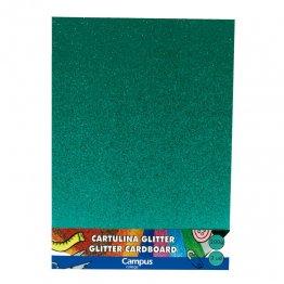Cartulina Campus College 200 gr A4 Glitter Bolsa 3 unid Verde