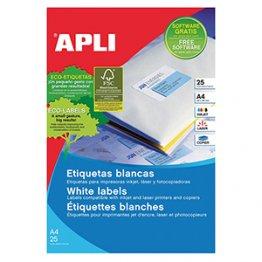 Etiquetas autoadhesivas Apli blancas de cantos rectos 210x297 25h A4 (25 hojas)