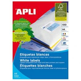 Etiquetas autoadhesivas Apli blancas de cantos rectos 64,6x33,8 (2400 eti/caja)