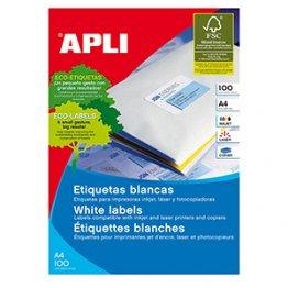 Etiquetas autoadhesivas Apli blancas de cantos rectos 70x50,8 mm A4 100h (1500 etiquetas caja)