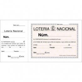 Talonario Lotería 207x109 T15 (100h) con matriz