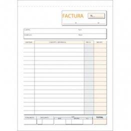 Talonario Facturas 145x207 T63 Natural Duplicado autocopia (50 juegos)