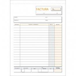 Talonario Facturas 145x207 T65 Natural Triplicado autocopia (50 juegos)