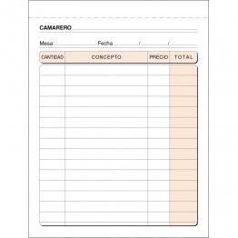 Talonario Camareros 109x153 T89 Natural Triplicado autocopia (50 juegos)