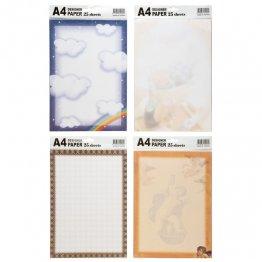 Papel decorado A4 4 diseños 25h 80gr