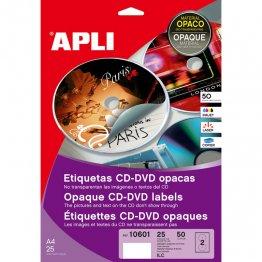 Etiquetas Mega CD-DVD Apli Dorso opaco Adhesivo permanente Bolsa de 25 hojas A4 (50 etiq.)