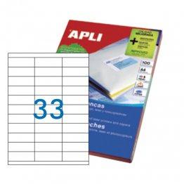 Etiquetas autoadhesivas Apli blancas de cantos rectos 70x25,4 A4 100h (3300 eti/caja)