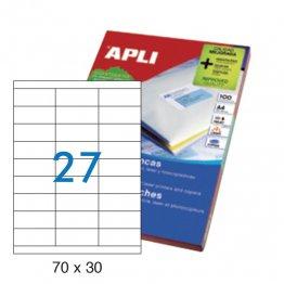 Etiquetas autoadhesivas Apli blancas de cantos rectos 70x30 A4 100h (2700 eti/caja)