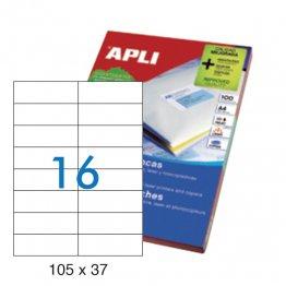 Etiquetas autoadhesivas Apli blancas de cantos rectos 105x37 A4 100h (1600 eti/caja)