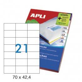 Etiquetas autoadhesivas Apli blancas de cantos rectos 70x42,4 A4 100h (2100 eti/caja)
