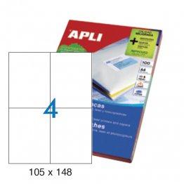 Etiquetas autoadhesivas Apli blancas de cantos rectos 105x148 A4 100h (400 eti/caja)