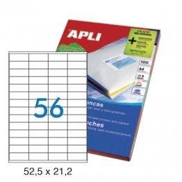 Etiquetas autoadhesivas Apli blancas de cantos rectos 52,2 x 21,2 A4 100h (5600 eti/caja)
