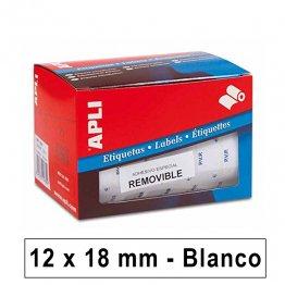 Etiquetas autoadhesivas Apli PVP en rollo 12x18mm Removible Blancas