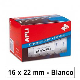 Etiquetas autoadhesivas Apli PVP en rollo 16x22mm Removible Blancas