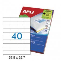 Etiquetas autoadhesivas Apli blancas de cantos rectos 52,5x29,7 A4 100h (4000 eti/caja)