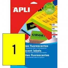 Etiquetas autoadhesivas fluorescentes Apli 210x297 Amarillo 20h (20 etiq)