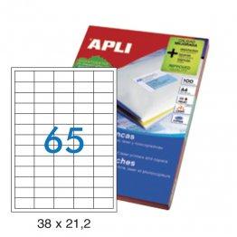 Etiquetas autoadhesivas Apli blancas de cantos rectos 38x21,2 A4 100h (6500 eti/caja)