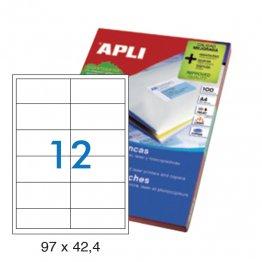 Etiquetas autoadhesivas Apli blancas de cantos rectos 97x42,4 A4 100h (1200 eti/caja)