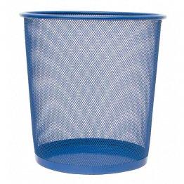Papelera metálica azul