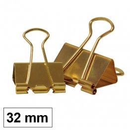 Pinzas sujetapapeles reversibles Plus Office 14mm dorada