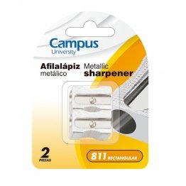 Afilalapiz Campus metálico rectangular Blister 2 unid