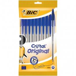 Bolsa 10 bolígrafos BIC Cristal azul