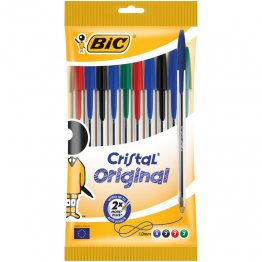 Bolsa 10 bolígrafos BIC Cristal surtidos