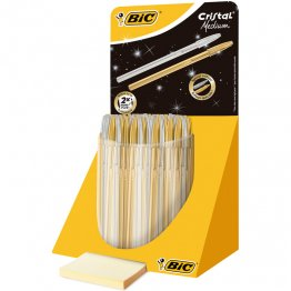 Bolígrafo BIC Cristal Oro y Plata Expositor 40 unid
