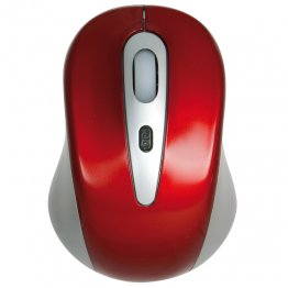 Ratón óptico inalámbrico rojo/gris