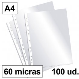 Fundas multitaladro Plus Office A4-cristal 60 micras
