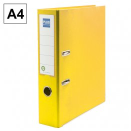 Archivador cartón forrado Plus Office E3R A4 75mm Amarillo