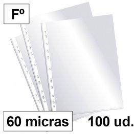 Fundas multitaladro Plus Office Folio-cristal 60 micras c/100