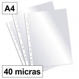 Funda multitaladro Plus Office A4-cristal 40 micras c/200