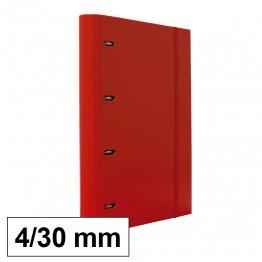 Carpeta 4 anillas 25mm A4 con recambio 100h y 5 sep rojo