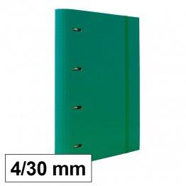 Carpeta 4 anillas 25mm A4 con recambio 100h y 5 sep verde